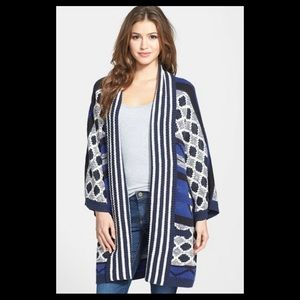 Lucky Brand- Intarsia Open Front Knit Cardigan